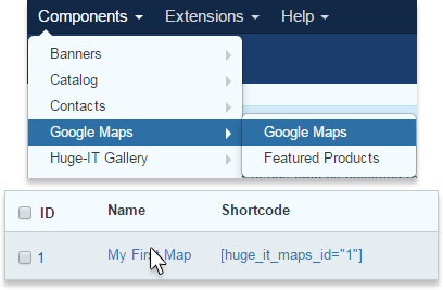 Google-maps-main-options