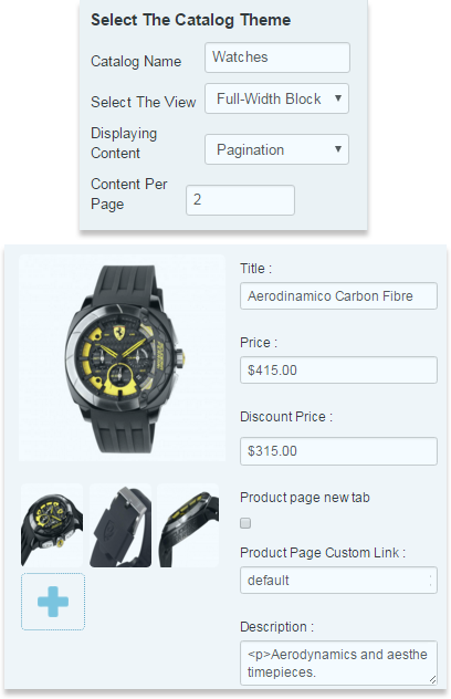 General options of Product Catalog extension